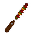 isolated colored skewer icon vector image vector image
