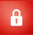 lock icon isolated on red background vector image vector image