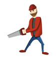 lumberjack hand saw icon cartoon style vector image
