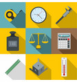 measure precision icon set flat style vector image vector image
