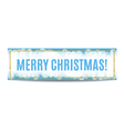 Merry Christmas banner golden frame and snowflakes vector image