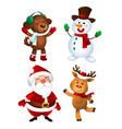 merry christmas santa claus dod snowman vector image vector image