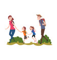 mom dad their son and daughter hiking on nature vector image vector image