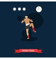 Muay Thai fighter kicking flat design