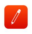 pencil with eraser icon digital red vector image vector image