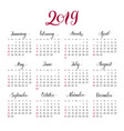 plain wall calendar 2019 year lettering flat vector image vector image