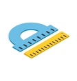 Protractor and ruler icon isometric 3d style vector image