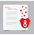 Red paper rose 8 March Womens Day card vector image