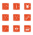 replacement icons set grunge style vector image vector image