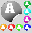 Road icon sign Set of eight multi-colored round vector image vector image