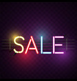 sale neon sign purple background image vector image vector image