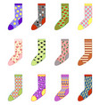 set colored socks vector image vector image