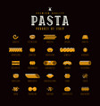 set of icons varieties of pasta vector image vector image