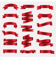 silk red ribbons isolated transparent background vector image vector image
