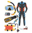 snorkeling and scuba diving set of elements scuba vector image vector image
