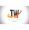 tw t w letter logo with fire flames design and vector image vector image