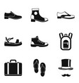 type of shoes icon set simple style vector image vector image