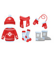 winter clothes collection vector image vector image