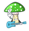 with guitar green amanita mushroom mascot cartoon vector image vector image
