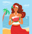 woman like summer season beauty summertime flat vector image