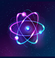 blue shining atom abstract technology dark vector image