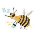 a cheerful bee flies with a bucket honey cute vector image vector image
