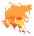 asia map with countries borders abstract red