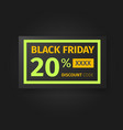 black friday 20 percent discount coupon vector image