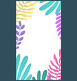 botanic minimal template for stories bright vector image vector image