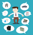 Business man with financial issue vector image vector image