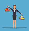 business woman balancing vector image