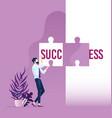 businessman holding word success split vector image