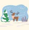 cartoon character reindeer stand in winter forest vector image vector image