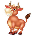 cartoon mascot bull with large horns vector image vector image