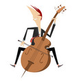 cartoon smiling cellist isolated vector image vector image