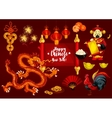 Chinese New Year and Spring Festival greeting card vector image