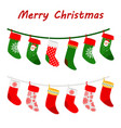 christmas socks garlands icons on white background vector image vector image