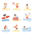 collection of cute boys and girls in bathing suits vector image