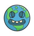 creepy smiling planet earth cartoon vector image vector image