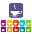 cup of tea icons set vector image vector image
