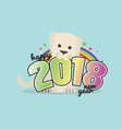 cute dog celebrating 2018 vector image vector image