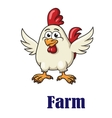 Cute little rooster in cartoon design vector image vector image