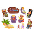 different people sitting and lying on different vector image