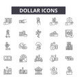dollar line icons signs set outline vector image vector image