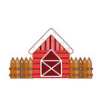 farm house with wooden fence texture vector image