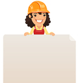 female builder looking at blank poster on top vector image vector image
