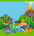 flat dinosaur in nature vector image vector image