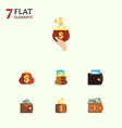 flat icon purse set of billfold finance payment vector image vector image