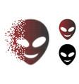 fractured pixel halftone happy alien head icon vector image vector image