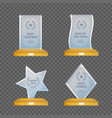 glass trophy awards set glossy transparent vector image vector image